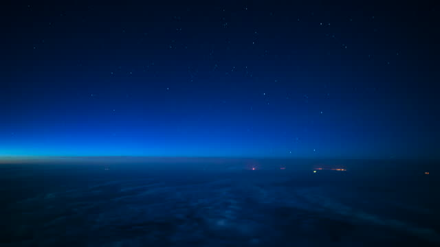 Milky Way Aircraft Passenger Point of View Timelapse Dawn
