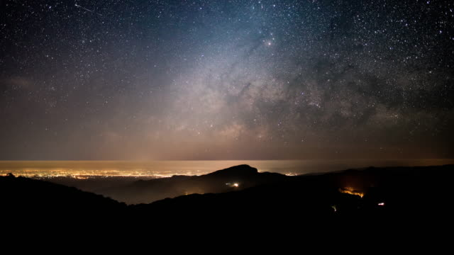 milky way and star galaxy time lapse movement night to sunrise - milky way stock videos and b-roll footage