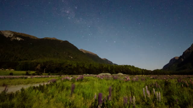 Milky way and star with galaxy Time Lapse Movement in fiordland national park , new zealand , dolly shot left to right video