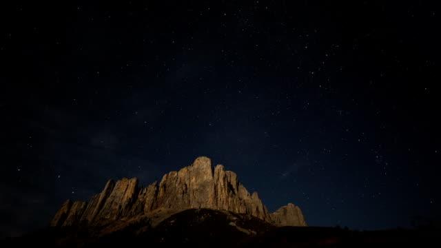 vintergatan på berg med träd silhuett - nightsky bildbanksvideor och videomaterial från bakom kulisserna