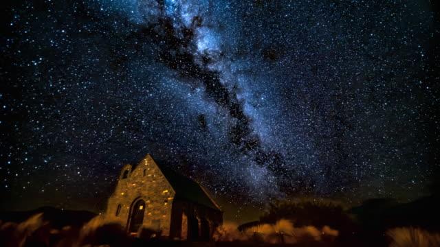 Milky way at night sky over church