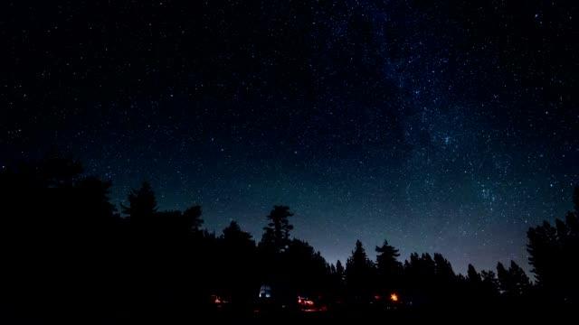 stockvideo's en b-roll-footage met milky way camping time lapse - caravan