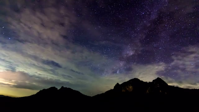 Milky Way core timelapse over Mountain,Time lapse video