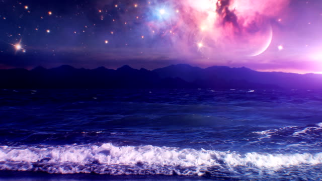 Milky Way Galaxy over sea video