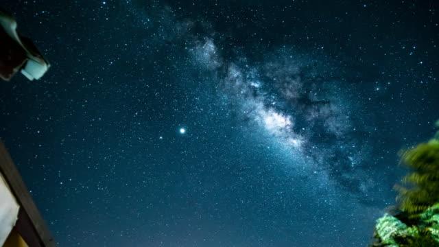 vídeos y material grabado en eventos de stock de galaxia de la vía láctea sobre la casa - estrella del norte