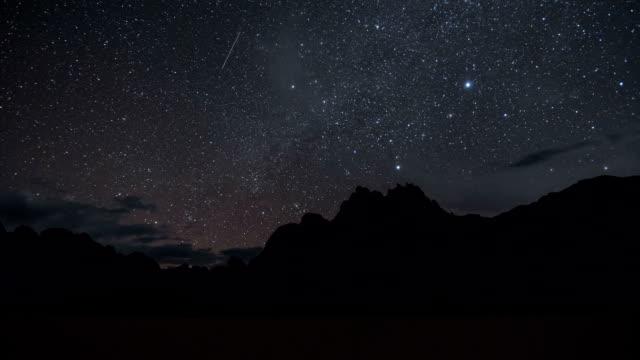 vídeos de stock e filmes b-roll de milky way galaxy over the racetrack playa time lapse - parque nacional do vale da morte