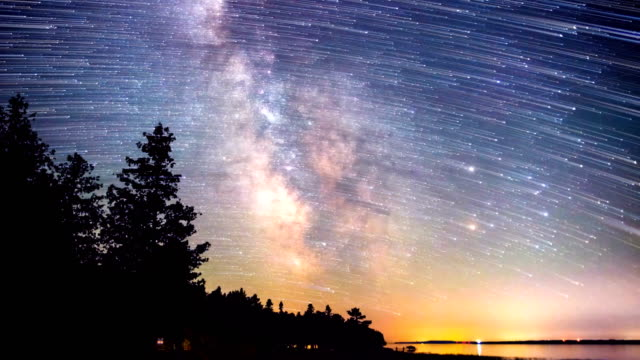 Milky way galaxy & star trails during a meteor shower video
