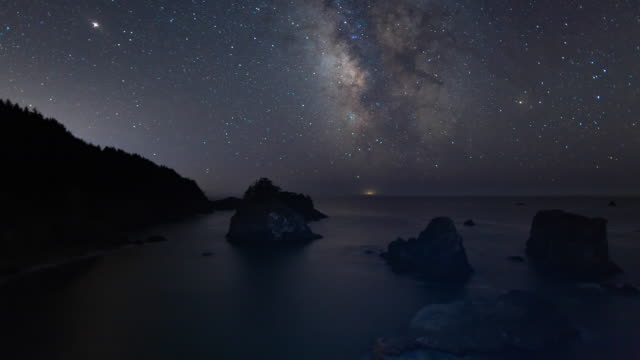 Milky Way Night Sky - Above the Sea Stack Islands on the Oregon Coast
