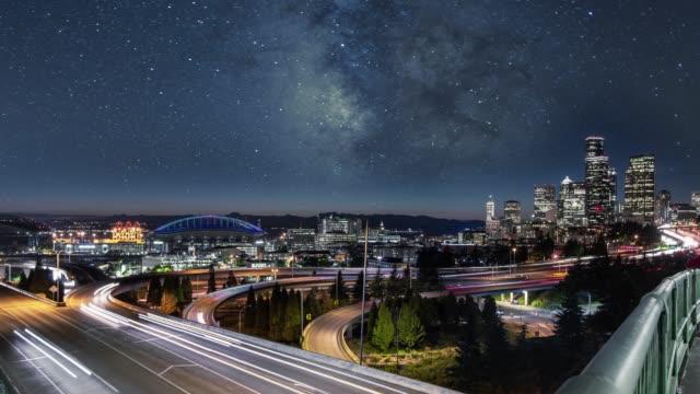 Milky Way Night Sky over Downtown Seattle City Skyline