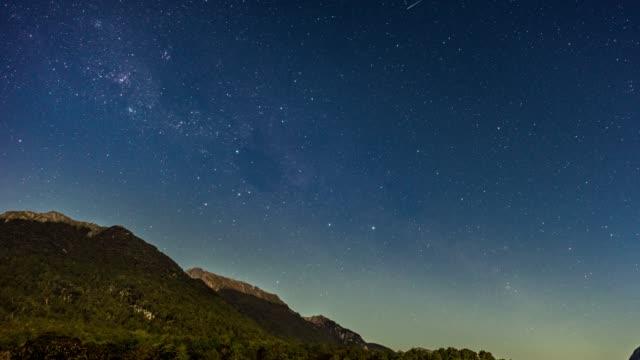 vídeos y material grabado en eventos de stock de timelapse del cielo nocturno de vía láctea - estrella del norte