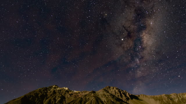 via lattea su aoraki mount cook, time lapse video - astronomia video stock e b–roll