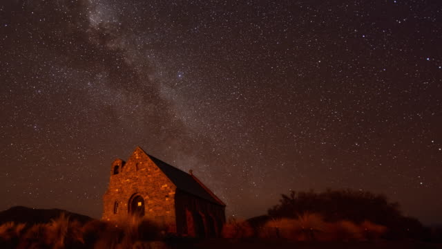 Milky Way Over Church of The Good Shepherd with Clear Sky, Milky Way Time Lapse