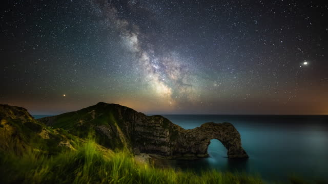 Milky Way over Durdle Door at Night- Time Lapse video