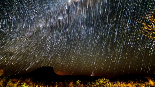 Milky way timelapse trails video