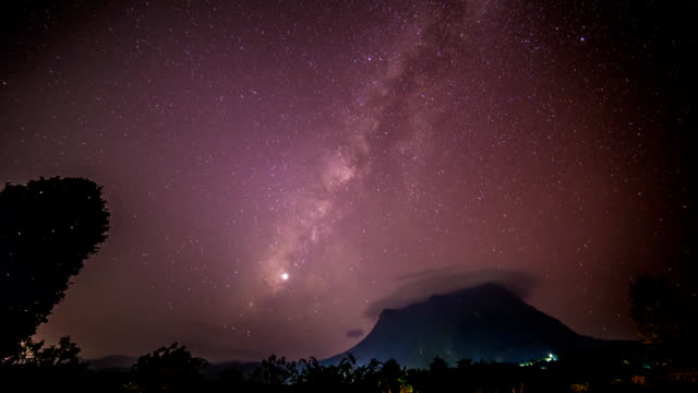 Milky Way with meteor venus and moon video