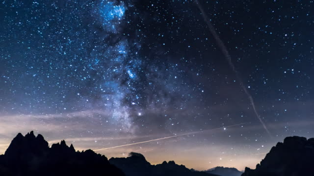 Milky way with mountain background timelapse video