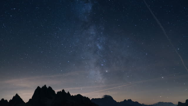 milky way with mountain in italy video