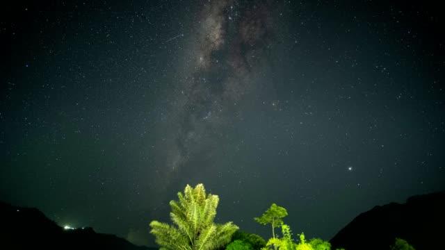 vintergatan med stjärnfall kretsar på berget på natten - earth from space bildbanksvideor och videomaterial från bakom kulisserna