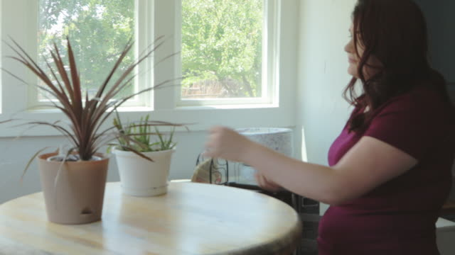 Millennial Female Caring for Two Potted Plants on a Bistro Table with Wood Top 4K Video