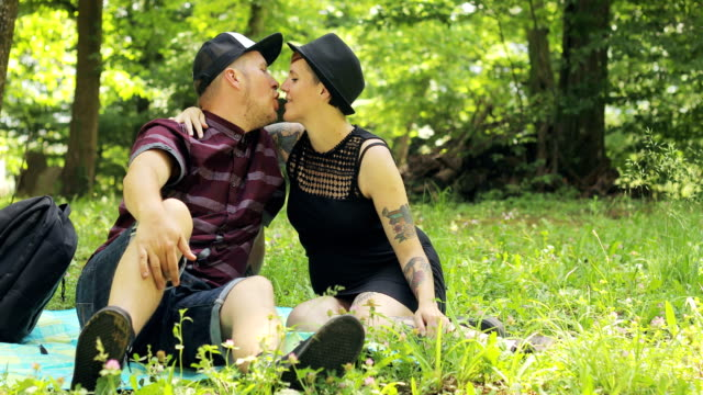 Millennial Generation Pregnant Couple Relaxing in Nature video