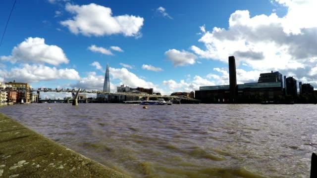 Millennium Bridge and River Thames, London, Real Time video
