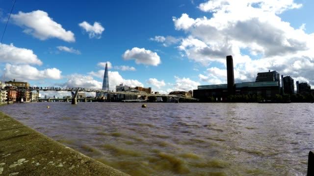 Millennium Bridge and River Thames, London, Time Lapse Fast video