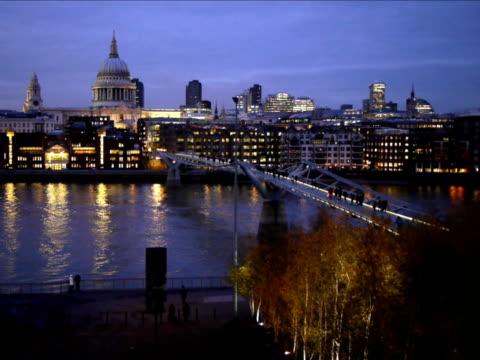 Millennium Bridge and Saint Paul's at Dusk video
