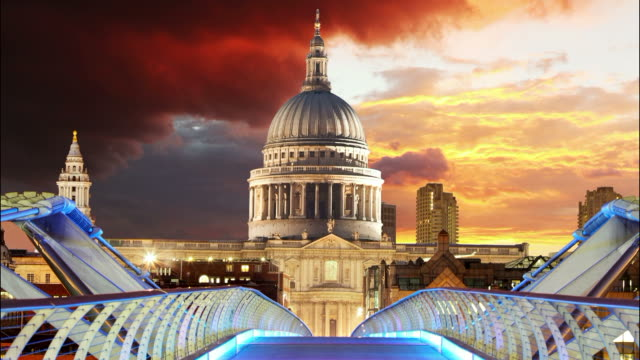 millennium bridge, saint paul's cathedral london - time lapse - victorian architecture stock videos & royalty-free footage