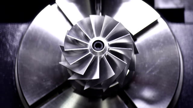 CNC milling machine polishing precise turbine video