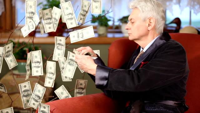 Millionaire in armchair picking 100 dollar bills off Money Tree video