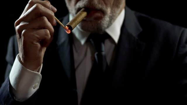 millionär beleuchtung teure havanna-zigarre mit einem spiel, macht und autorität - teurer lebensstil stock-videos und b-roll-filmmaterial