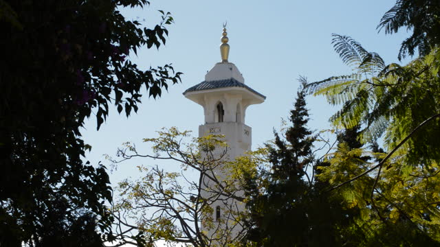Minaret with yamur of a arab mosque a sunny day