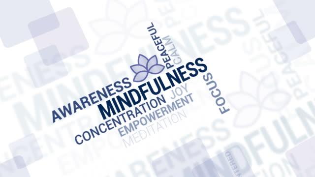 mindfulness and meditation tag cloud - mindfulness стоковые видео и кадры b-roll