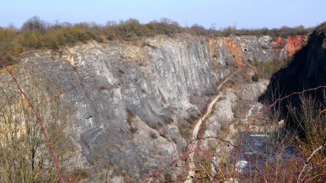 Mine used for mining stone, surface quarry video