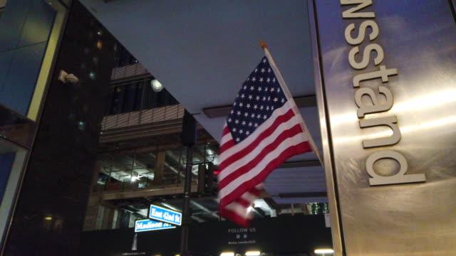 USA Mini Flag in NYC at night