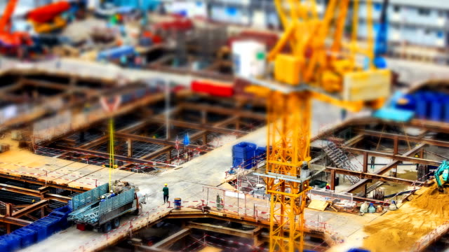 miniature construction site, tilt shift effect video