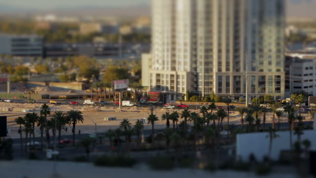 Miniature crowded city traffic in a rush hour at sunset video