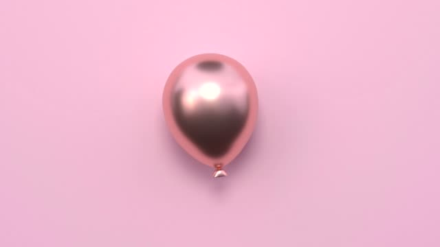 minimal abstract motion animation metallic rose gold shape 3d rendering pink scene flat lay balloon christmas holiday concept - kompozycja flat lay filmów i materiałów b-roll