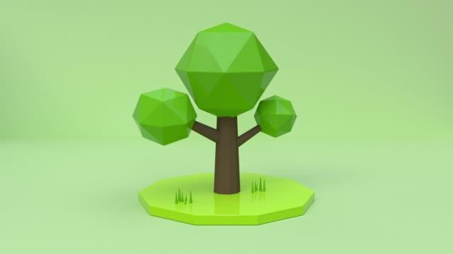 最小限の抽象的なモーションツリー漫画のスタイル環境コンセプト3d レンダリング - ローポリモデリング点の映像素材/bロール