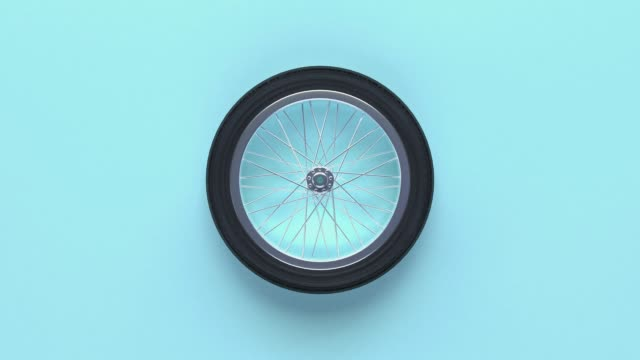 minimal abstract wheels blue background 3d rendering motion