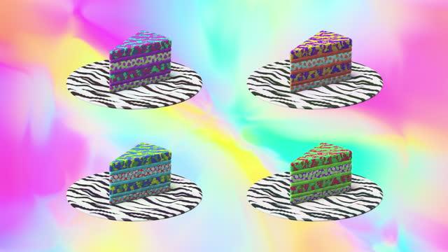 Minimal animation design. 3d creative chocolate unicorn cake on gradient pattern space. Fashion Fast food concept art. 4k video