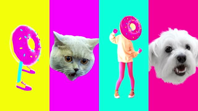 Minimal motion art. Collage Donut addicts. Donut lovers idea