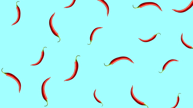 Minimal motion design Chili pepper animation Minimal motion design animation. Hot Chili pepper falling at color background. Abstract graphics in trendy colors and style. Seamless looping animation. spice stock videos & royalty-free footage