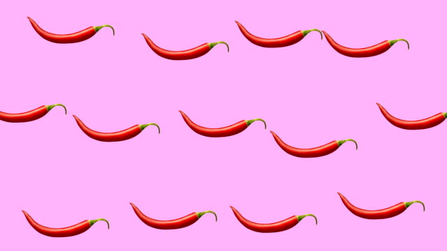 Minimal motion design Chili pepper animation Minimal motion design animation. Hot Chili pepper wiggle and move at color background. Abstract graphics in trendy colors and style. Seamless looping animation. spice stock videos & royalty-free footage