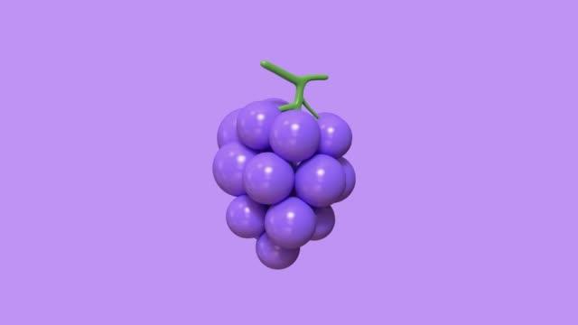 最小限の紫色のグレープ漫画のスタイルの3d レンダリング抽象的な動き - ぶどう イラスト点の映像素材/bロール