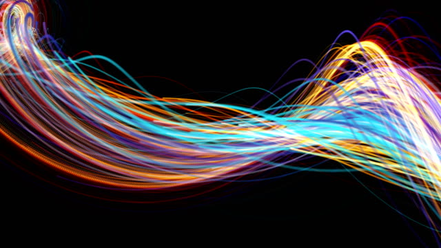 minimalist flowing streaks of light background - morphing video stock e b–roll