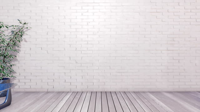 vídeos de stock e filmes b-roll de minimalist interior design with copy space on empty white brick wall - living room background