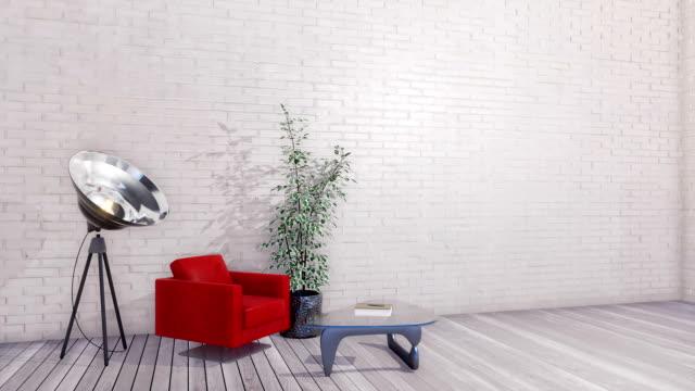 Minimalist living room interior with empty white brick wall