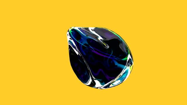 минималистичный покрытия кадры абстрактных голографический объект стильный 3d абстрактная анимация цветные волнистые гладкий шар. зачати� - трёхразмерный стоковые видео и кадры b-roll