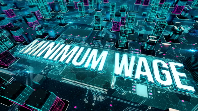 Minimum wage with digital technology concept